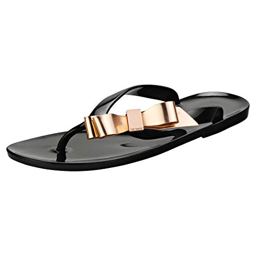 Ted Baker Women's Suszie PVC Slip On Flip Flop Black/Rose -