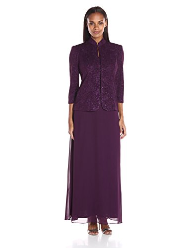 - Alex Evenings Women's Jacquard Long Dress Mandarin-Neck Jacket (Petite Regular), Eggplant, 10
