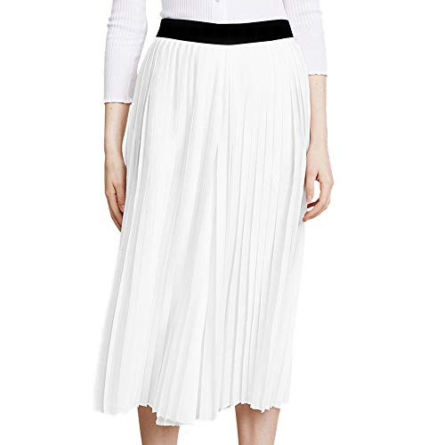 BOANGE Women's Chiffon Pleated Swing Skirt A-Line Spring