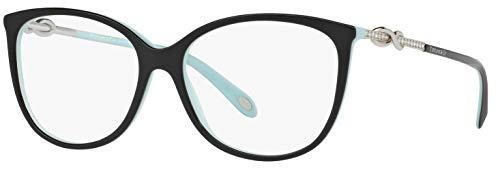 Tiffany & Co. TF 2143-B Women Oval Eyeglasses RX - able Frame (Black Blue 8055, 53) (Discount Glasses Frames)