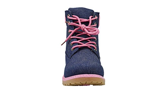 Walking Women Working Boots Booties Golden Pink For Combat Ankle Lace Jeans 7 Road up 13015 Zw5q0vF