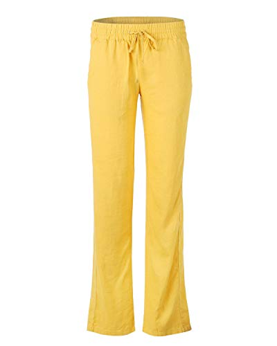 (Dream Supply Women's Comfy Drawstring Linen Long Pants with Elastic Band Waist)