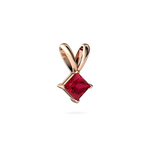14kt Rose Gold Lab Ruby 4mm Square Solitaire Pendant