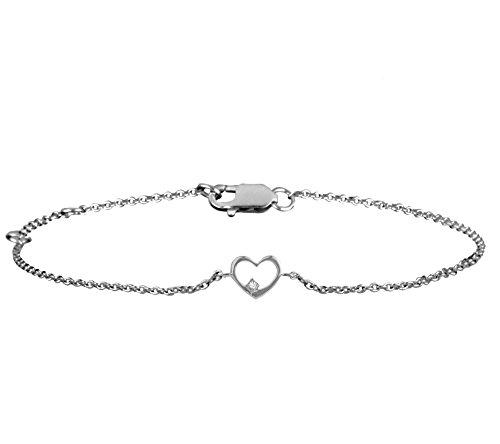 Or Blanc 18 ct Bracelet Diamant en forme de cœur, 0.02 Ct Diamant, GH-SI, 2.34 grammes.