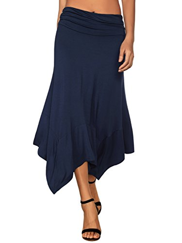 DJT Women's Flowy Handkerchief Hemline Midi Skirt Medium Navy