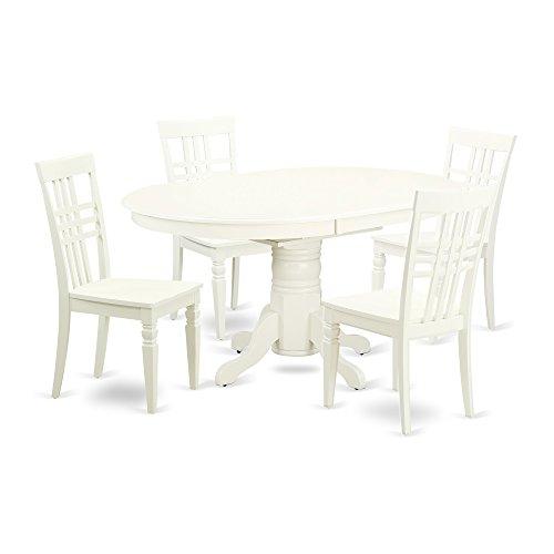 East West Furniture AVLG5-LWH-W Kitchen Set, 5 Pieces, Linen White