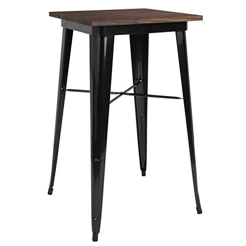 Taylor Logan 23.5 Inch Square Metal Indoor Table with Walnut Rustic Wood Top, Black