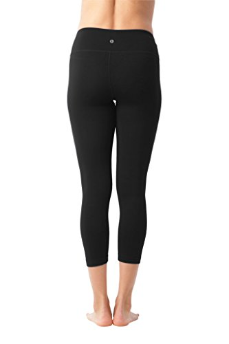90 Degree By Reflex Yoga Capris - Yoga Capris for Women - Hidden Pocket - Black and Heather Charcoal 2 Pack - XS by 90 Degree By Reflex (Image #3)