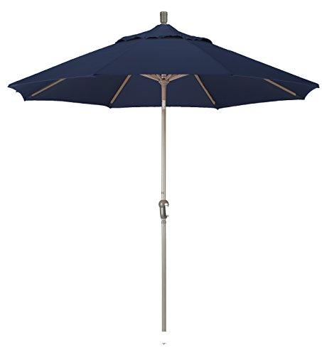 California Umbrella 9-feet Olefin Fabric Aluminum Auto Tilt Market Umbrella with Champagne Pole, Navy Blue