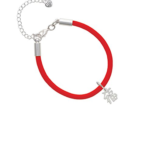 Chinese Symbol ''Good Luck'' Red Malibu Paracord Bracelet