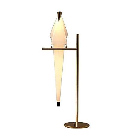 LUOLAX Postmodern White Paper Crane LED Floor Lamps Gold Stand Lighting PVC  Desk Lamp For Living Room Bedroom Restaurant     Amazon.com