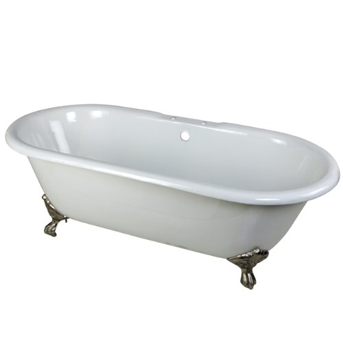Kingston Brass Aqua Eden VCT7D663013NB8 Cast Iron Double Ended Clawfoot Bathtub with Brushed Nickel Feet and 7-Inch Centers Faucet Drillings,  66-Inch, White ()