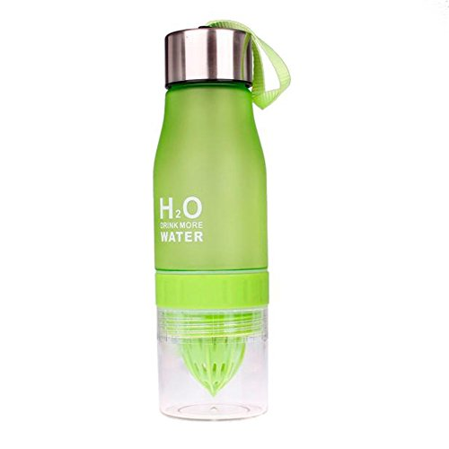 ater Bottle ❤ Fashion Fruit Infusing Water Bottle Sports Health Lemon Juice Drink Cup (Green, 24.4×7×5.6cm) ()
