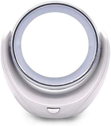 ZMHZJ ナチュラルホワイトLEDスクリーンと両面拡大鏡メイクアップミラー丸形、360度回転ライトアップバニティミラー