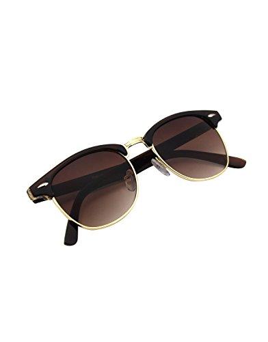 CGID CN56 Clubmaster clubma Retro Vintage Sonnenbrille im angesagte 60er Browline-Style mit markantem Halbrahmen Sonnenbrille,Braun-Braun
