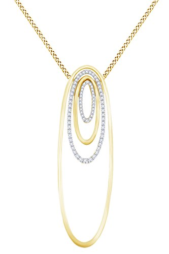 Round White Natural Diamond Open Oval Frame Pendant Necklace in 14k Solid Yellow Gold (0.43 Ct) (Frame 14k Yg)