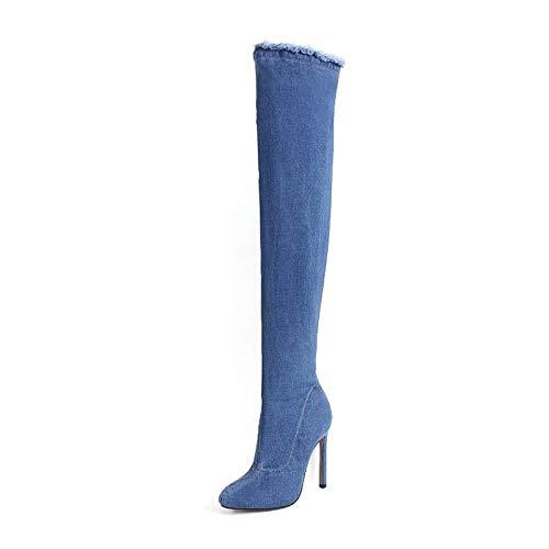 ZHZNVX Damenmode Stiefel Denim Herbst Stiefel Stiletto Heel Overknee Stiefel Blau