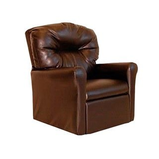 Dozydotes Contemporary Child Rocker Recliner Chair – Pecan Brown Leather-Like For Sale