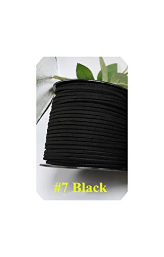 5Meter/Lot Flat Faux Suede Korean Velvet Leather Cord DIY Lace Rope Thread for Jewelry Making Decorative Handicrafts Accessories,Color 7 Black