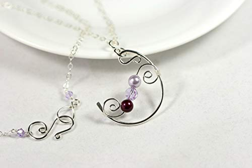 - Sterling Silver Purple Necklace Lavender Blackberry Pearl and Violet Swarovski Crystal Pendant Wire Wrapped