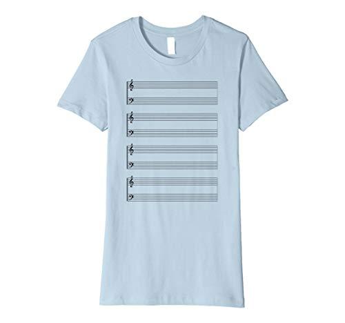 Womens Sheet Music Score Staff Paper Treble Bass T-shirt Small Baby Blue