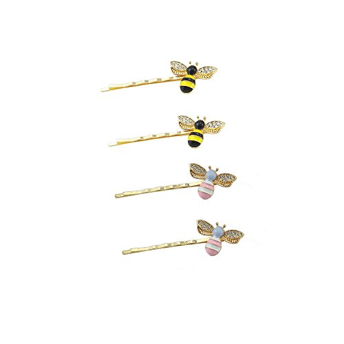 Yueton Pack of 4 Girl Kid Honeybee Metal Hairpin Bee Crystal Hair Side Clip Barrette Bobby Pin Hairpin Hair Accessories