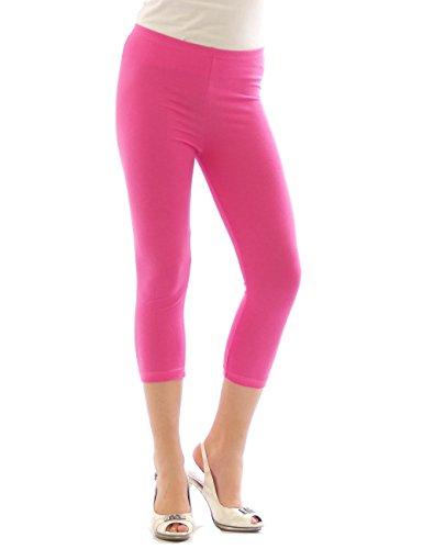 Yeset Femme Legging longueur 3/4 Capri court Leggings cotton ROSE M