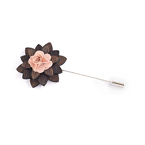 Amzchoice Mens Wood Lapel Flower Wooden Boutonniere Pin