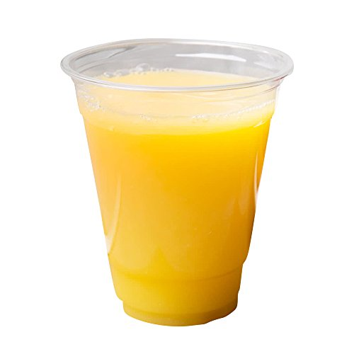 [12 oz Squat | 100 Pack] Clear Plastic Cups Disposable Drinking Cup with Flat Lids, BPA Free - Comes with Free 100 Straws