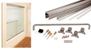 CRL Brushed Nickel 72'' x 60'' Cottage CK Series Sliding Shower Door Kit With Clear Jambs for 3/8'' Glass - CK387260BN