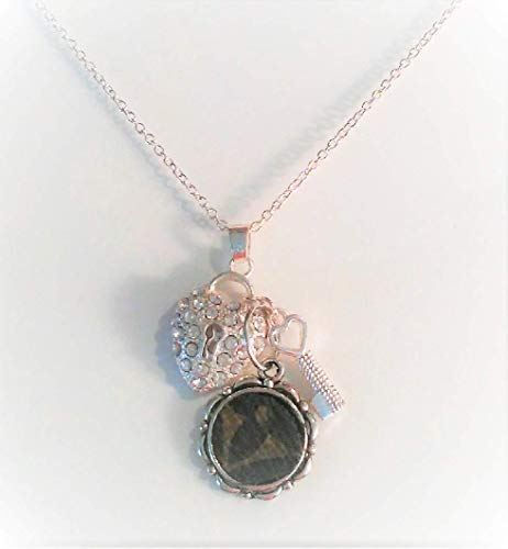 (Mother's Day. Crystal Heart Charm Necklace w Handmade Pendent monogram Louis Vuitton Upcycle. 18
