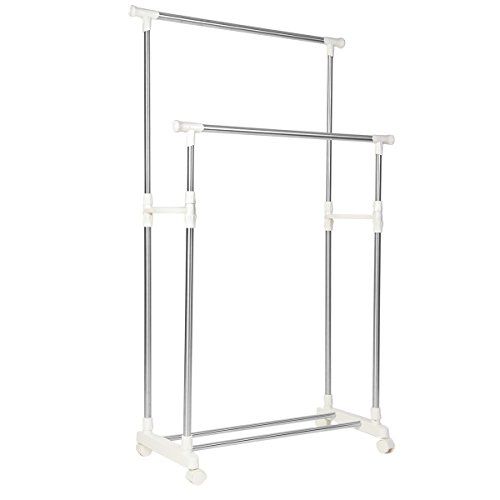 Drynatural Adjustable Double Rod Clothes Garment Rack for Hanging Clothes Stainless Steel Rolling Clothes Drying Rack for Laundry