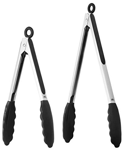 Stainless Steel Coated Food Tongs Set of 9 & 12 Inch, Non- Stick Material with BPA Free Silicone Tips with Easy Storing Lock, Suit for Barbecue, Salad, Grilling, -