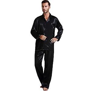 Mens Silk Satin Pajamas Set Sleepwear Loungewear S M L XL 2XL 3XL 4XL