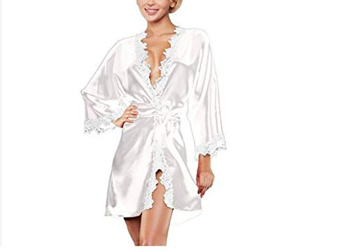 Sexy Bathrobe Lace Side Perspective Temptation Exotic Sets Fun Pajamas,M,White