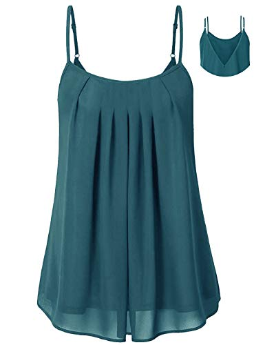 Cyanstyle Women's Pleated Chiffon Layered Camisole Sexy Summer Cami Tank Tops Acid Blue XXL