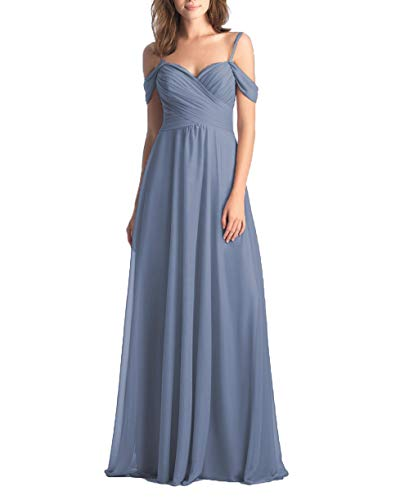 (Dusty Blue Bridesmaid Dresses Long Off The Shoulder Chiffon Formal Wedding Evening Party Gown for Women Size)
