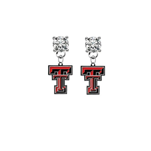 (Texas Tech Red Raiders Clear Crystal Stud Post Dangle Earrings)