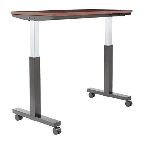 OSP Furniture PHAT2448M3 Pneumatic Height Adjustable Table, Mahogany Top with Black -