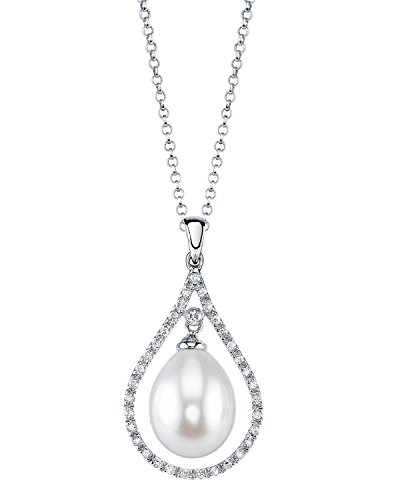 THE PEARL SOURCE 14K Gold 9-10mm Drop-Shape White Freshwater Cultured Pearl & Diamond Danielle Pendant Necklace for Women