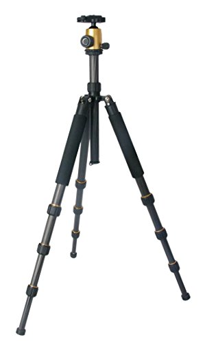 TERRA FIRMA TRIPODS T-CF400G-BH100G Carbon Fiber 4 section Tripod Leg Set with Ball Head BH100, Black by TERRA FIRMA TRIPODS