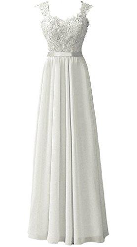 Snowskite Women's Long Shoulder Straps Lace Chiffon Prom Evening Dress Ivory 12