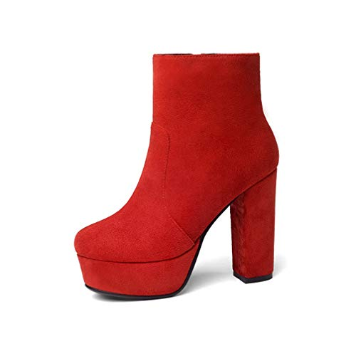 T-JULY Woman Thick High Heels Boots Lady Flock Platform Ankle Boot Fashion Female Winter Casual Big Size Zip Footwear Red