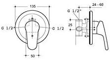 BagnoClic Rubinetto Miscelatore per Doccia A Incasso Completo E Standard