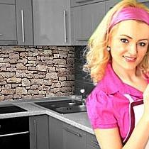 Küchenrückwand < Naturstein Braun > Premium Hart-PVC 0,4 mm selbstklebend 60x51cm