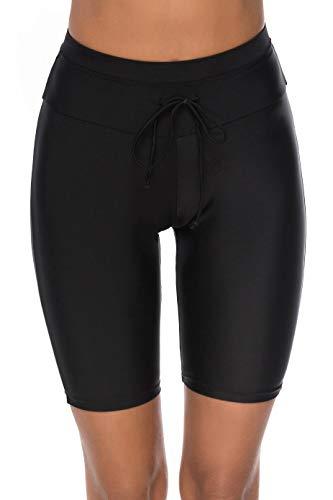 LAZOSAL Womens Waistband Long Boardshorts Plus Size Solid Swim Short Beach Surf Shorts S-3XL