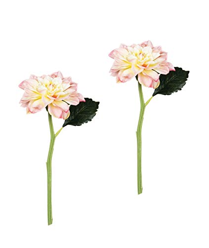 Sullivans Set of 2 Artificial Pink Blush Dahlia Flower Stems, 19.5""