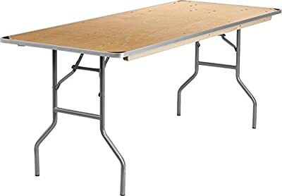 Flash Furniture Rectangular Heavy Duty Birchwood Folding Banquet Table with Metal Edges and Protective Corner Guards