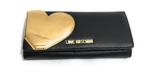 LOVE MOSCHINO ACCESSORIES Heart Detail Zip Large Around Purse One Size BLACK