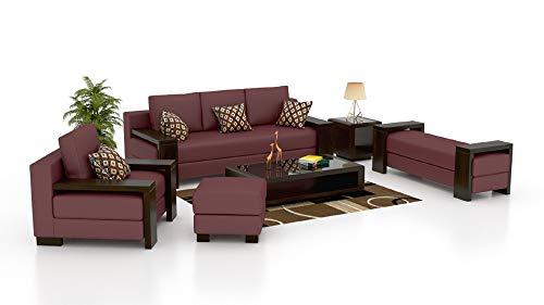 INLENDISH Paes 3+2+1 Leatherette Wooden Sofa Set Maroon